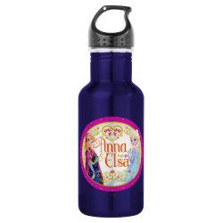 Water Bottle (24 oz) with Anna & Elsa Floral Design design