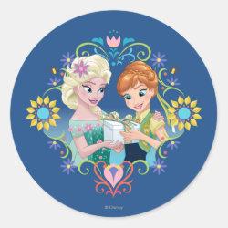 Round Sticker with Anna & Elsa Frozen Fever Sister Gift design