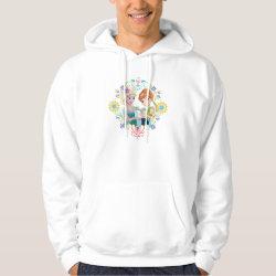 Men's Basic Hooded Sweatshirt with Anna & Elsa Frozen Fever Sister Gift design