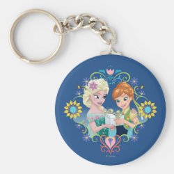 Basic Button Keychain with Anna & Elsa Frozen Fever Sister Gift design