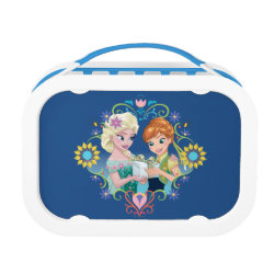Blue yubo Lunch Box with Anna & Elsa Frozen Fever Sister Gift design