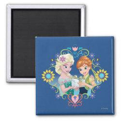 Square Magnet with Anna & Elsa Frozen Fever Sister Gift design