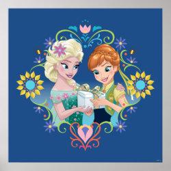 Matte Poster with Anna & Elsa Frozen Fever Sister Gift design