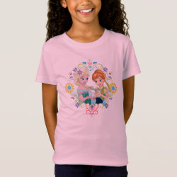Girls' Fine Jersey T-Shirt with Anna & Elsa Frozen Fever Sister Gift design