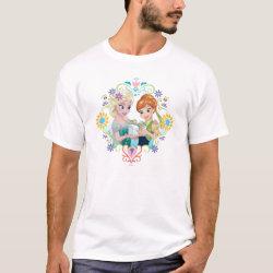 Men's Basic T-Shirt with Anna & Elsa Frozen Fever Sister Gift design