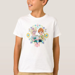Kids' Hanes TAGLESS® T-Shirt with Anna & Elsa Frozen Fever Sister Gift design