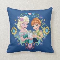 Cotton Throw Pillow with Anna & Elsa Frozen Fever Sister Gift design