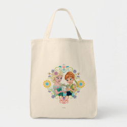 Grocery Tote with Anna & Elsa Frozen Fever Sister Gift design