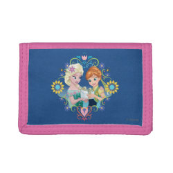 TriFold Nylon Wallet with Anna & Elsa Frozen Fever Sister Gift design