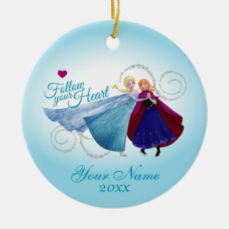 Anna and Elsa | Holding Hands Add Your Name Ceramic Ornament