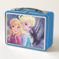 Metal Lunch Box with Sisters Anna & Elsa of Disney's Frozen design