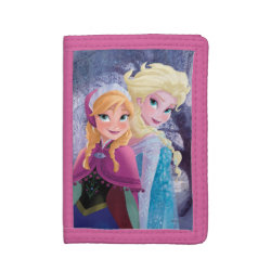 TriFold Nylon Wallet with Sisters Anna & Elsa of Disney's Frozen design