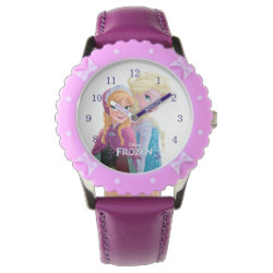 Kid's Adjustable Bezel Stainless Steel Purple Ribbon Watch with Sisters Anna & Elsa of Disney's Frozen design