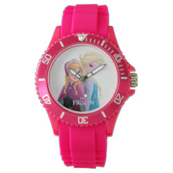 Women's Sporty Pink Silicon Watch with Sisters Anna & Elsa of Disney's Frozen design