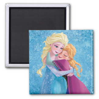 Anna and Elsa Hugging 2 Inch Square Magnet