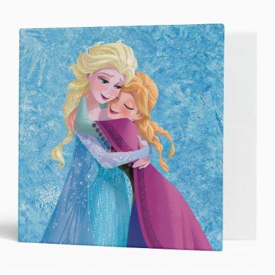 Anna and Elsa Hugging 3 Ring Binders