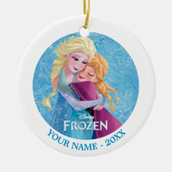Circle Ornament with Sister Love: Anna & Elsa Hugging design