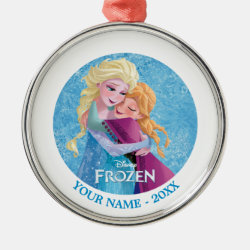 Premium circle Ornament with Sister Love: Anna & Elsa Hugging design