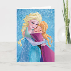 Standard Card with Sister Love: Anna & Elsa Hugging design