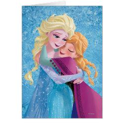 Greeting Card with Sister Love: Anna & Elsa Hugging design