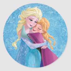 Round Sticker with Sister Love: Anna & Elsa Hugging design