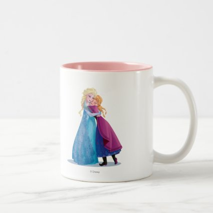 Anna and Elsa Hugging Coffee Mug