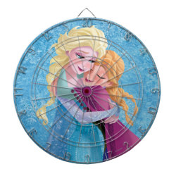 Megal Cage Dart Board with Sister Love: Anna & Elsa Hugging design