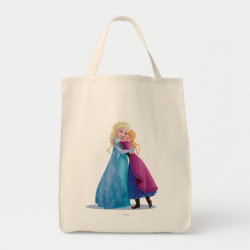 Grocery Tote with Sister Love: Anna & Elsa Hugging design
