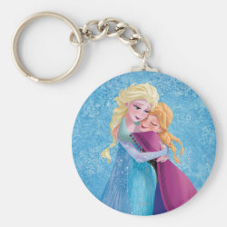 Basic Button Keychain with Sister Love: Anna & Elsa Hugging design