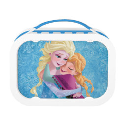 Blue yubo Lunch Box with Sister Love: Anna & Elsa Hugging design