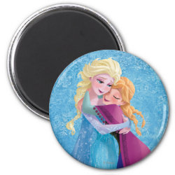 Round Magnet with Sister Love: Anna & Elsa Hugging design