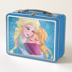 Metal Lunch Box with Sister Love: Anna & Elsa Hugging design