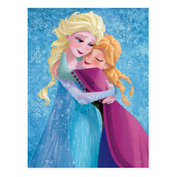 Postcard with Sister Love: Anna & Elsa Hugging design