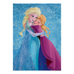 Matte Poster with Sister Love: Anna & Elsa Hugging design