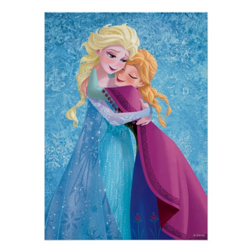 Anna and Elsa Hugging Print