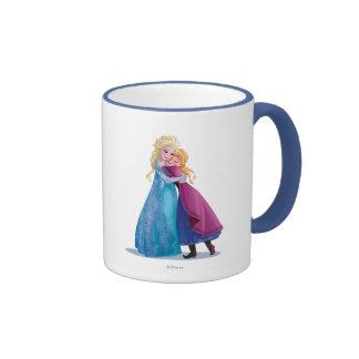 Anna and Elsa Hugging Ringer Coffee Mug