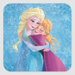 Square Sticker with Sister Love: Anna & Elsa Hugging design