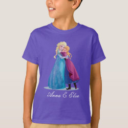 Kids' Hanes TAGLESS® T-Shirt with Sister Love: Anna & Elsa Hugging design