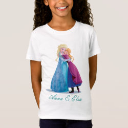 Girls' Fine Jersey T-Shirt with Sister Love: Anna & Elsa Hugging design