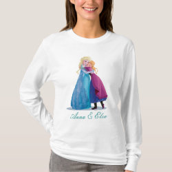 Women's Basic Long Sleeve T-Shirt with Sister Love: Anna & Elsa Hugging design