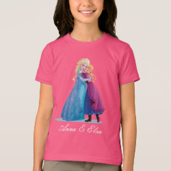 Girls' American Apparel Fine Jersey T-Shirt with Sister Love: Anna & Elsa Hugging design