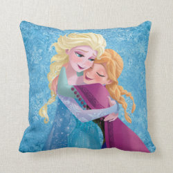 Sister Love: Anna & Elsa Hugging Cotton Throw Pillow