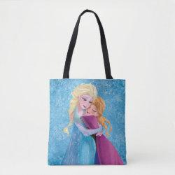 All-Over-Print Tote Bag with Sister Love: Anna & Elsa Hugging design