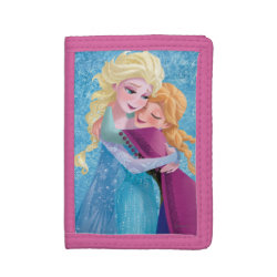 TriFold Nylon Wallet with Sister Love: Anna & Elsa Hugging design