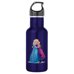 Water Bottle (24 oz) with Sister Love: Anna & Elsa Hugging design