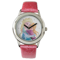 Kid's Pink Glitter Strap Watch with Sister Love: Anna & Elsa Hugging design