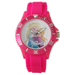 Women's Sporty Pink Silicon Watch with Sister Love: Anna & Elsa Hugging design