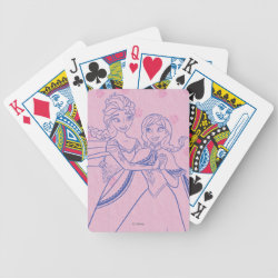 Playing Cards with Anna & Elsa Sisters Line Drawing design