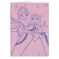 Greeting Card with Anna & Elsa Sisters Line Drawing design