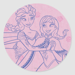 Round Sticker with Anna & Elsa Sisters Line Drawing design